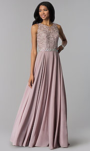 Image of long chiffon formal dress with beaded-lace applique. Style: FB-GL2417 Detail Image 4