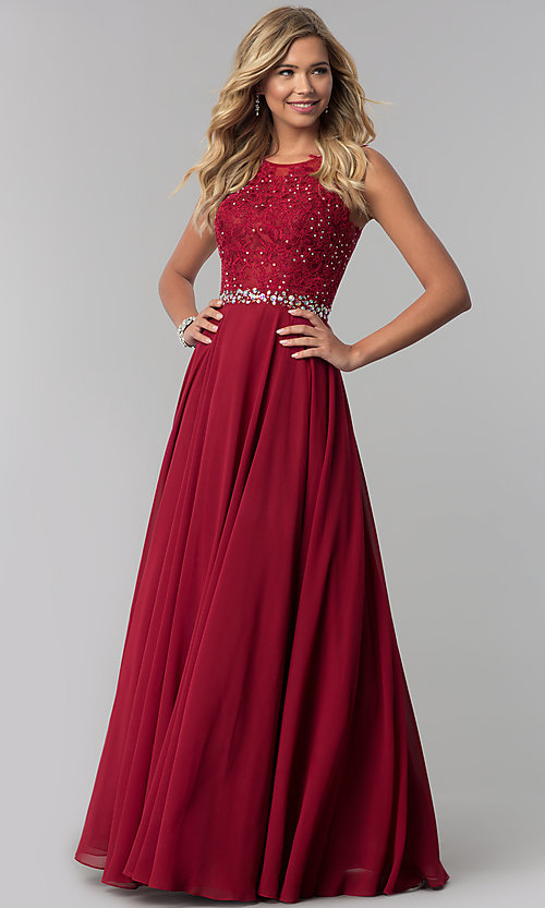 Image of long chiffon formal dress with beaded-lace applique. Style: FB-GL2417 Detail Image 1