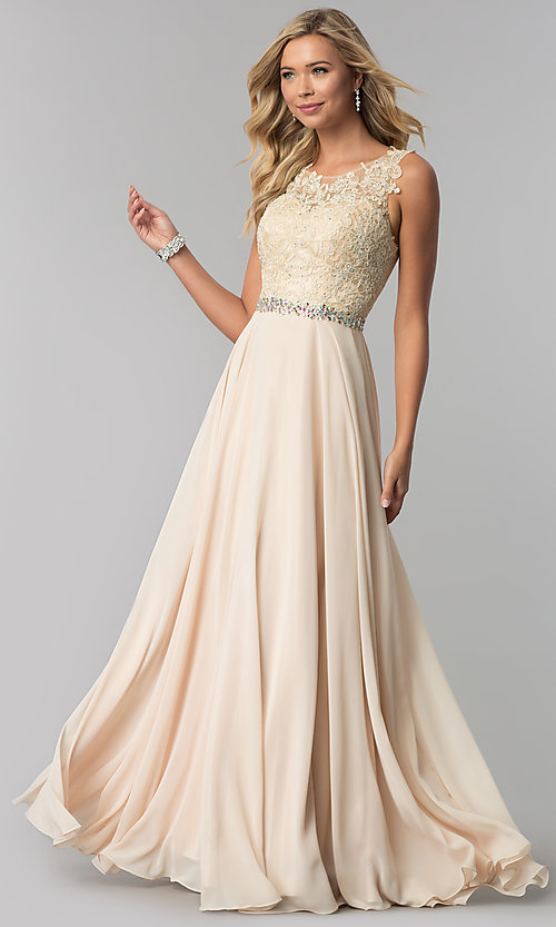 Image of long chiffon formal dress with beaded-lace applique. Style: FB-GL2417 Detail Image 2