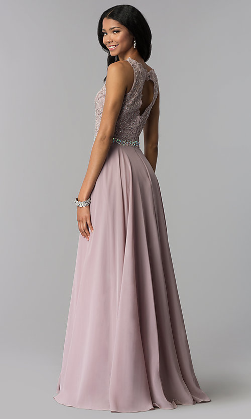 Image of long chiffon formal dress with beaded-lace applique. Style: FB-GL2417 Detail Image 7