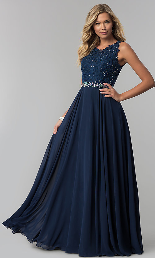 Image of long chiffon formal dress with beaded-lace applique. Style: FB-GL2417 Front Image