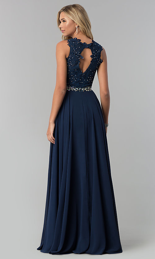 Image of long chiffon formal dress with beaded-lace applique. Style: FB-GL2417 Back Image