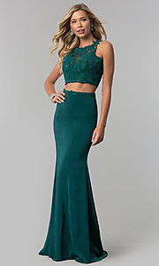 Image of Elizabeth K lace-applique two-piece prom dress. Style: FB-GL2419 Detail Image 3
