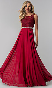 Image of lace-bodice long chiffon prom dress with beading. Style: FB-GL2420 Detail Image 2