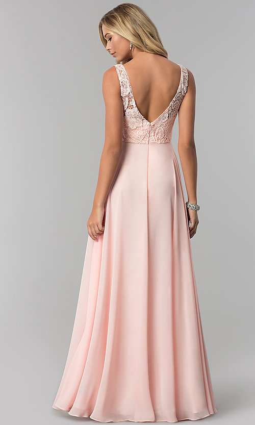 Image of lace-bodice long chiffon prom dress with beading. Style: FB-GL2420 Back Image