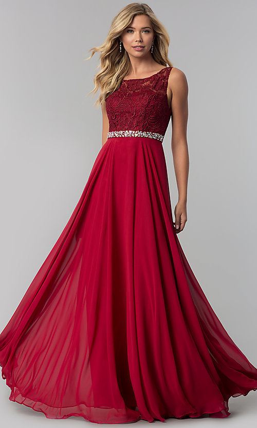 Image of lace-bodice long chiffon prom dress with beading. Style: FB-GL2420 Detail Image 1