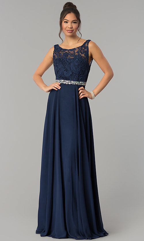 Image of lace-bodice long chiffon prom dress with beading. Style: FB-GL2420 Front Image