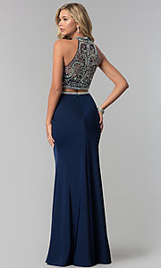 Image of long navy embellished-top two-piece prom dress. Style: FB-GL2424 Back Image
