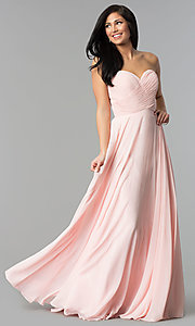 Image of strapless long chiffon prom dress with corset back.  Style: FB-GL2425 Detail Image 3