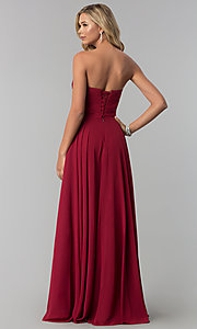 Image of strapless long chiffon prom dress with corset back.  Style: FB-GL2425 Back Image