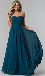 Image of strapless long chiffon prom dress with corset back.  Style: FB-GL2425 Detail Image 2