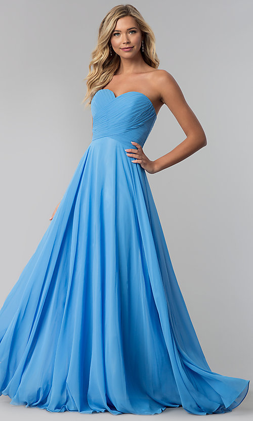 Image of strapless long chiffon prom dress with corset back.  Style: FB-GL2425 Detail Image 1