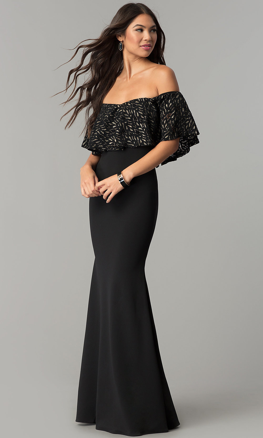 79fb865388034 Long Black Glitter Evening Dress
