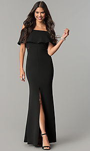 Image of long prom dress with off-the-shoulder flounce. Style: MCR-2313 Back Image