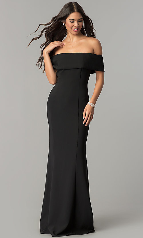 Fold Over Collar Long Off The Shoulder Formal Dress