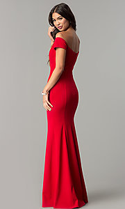 Image of off-the-shoulder long prom dress with banded sleeves. Style: MCR-2251 Back Image