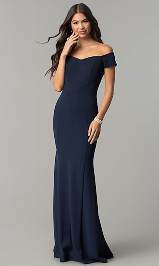 Off-the-Shoulder Long Prom Dress with Banded Sleeves