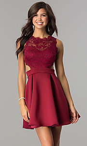 Image of short burgundy lace-bodice homecoming party dress.  Style: DC-44536B Front Image
