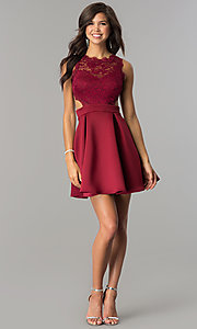 Image of short burgundy lace-bodice homecoming party dress.  Style: DC-44536B Detail Image 2