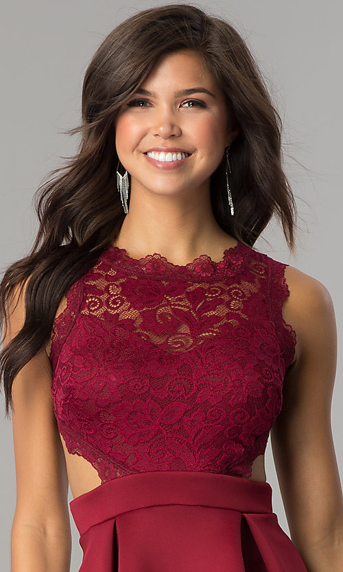 Image of short burgundy lace-bodice homecoming party dress.  Style: DC-44536B Detail Image 1