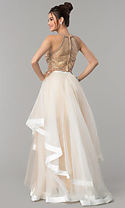 Image of racer-front Glamour by Terani two-piece prom dress. Style: TI-GL-1711P2416 Back Image