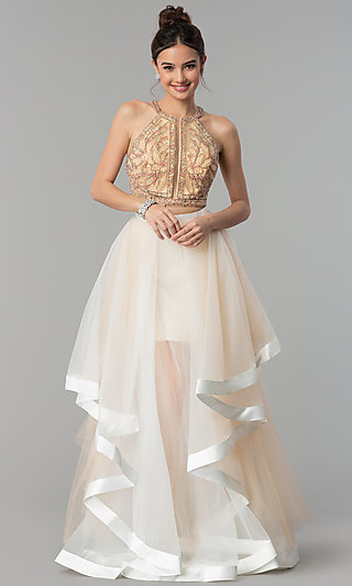 Racer-Front Glamour by Terani Two-Piece Prom Dress
