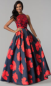 Image of high-neck long open-back floral-print prom dress. Style: TI-GL-1715P3828 Front Image