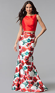 Image of two-piece red floral-print long mermaid prom dress. Style: TI-GL-1712P2754 Front Image