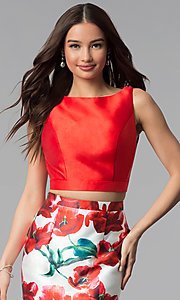 Image of two-piece red floral-print long mermaid prom dress. Style: TI-GL-1712P2754 Detail Image 1