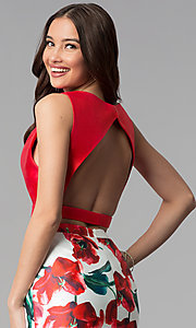 Image of two-piece red floral-print long mermaid prom dress. Style: TI-GL-1712P2754 Detail Image 2