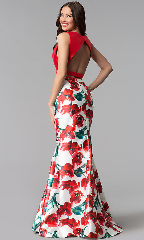 Image of two-piece red floral-print long mermaid prom dress. Style: TI-GL-1712P2754 Back Image
