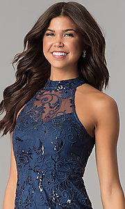 Image of short embroidered-mesh navy blue homecoming dress. Style: MT-8941 Detail Image 1