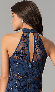 Image of short embroidered-mesh navy blue homecoming dress. Style: MT-8941 Detail Image 2