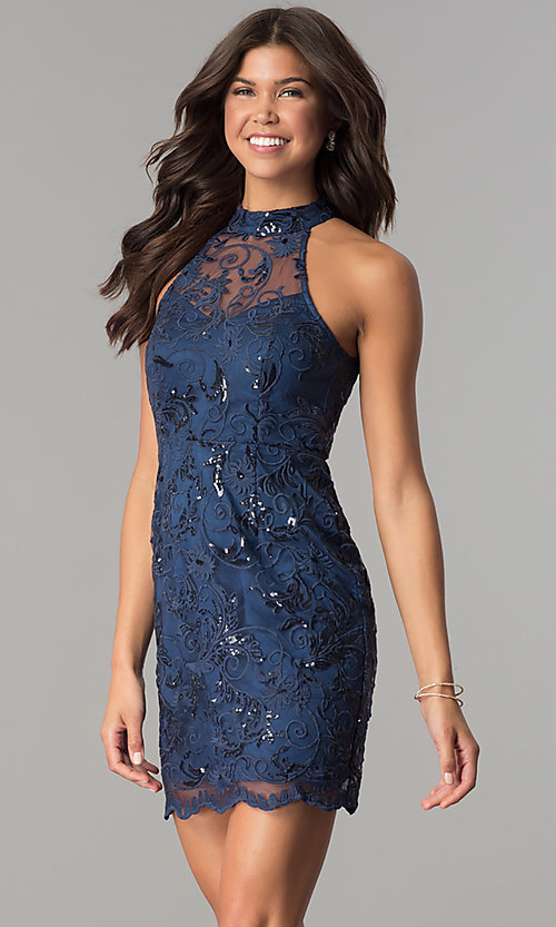 Image of short embroidered-mesh navy blue homecoming dress. Style: MT-8941 Front Image