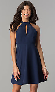 Image of short navy blue empire-waist high-neck party dress. Style: MT-8837 Front Image