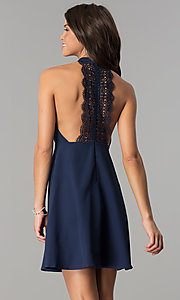 Image of short navy blue empire-waist high-neck party dress. Style: MT-8837 Back Image