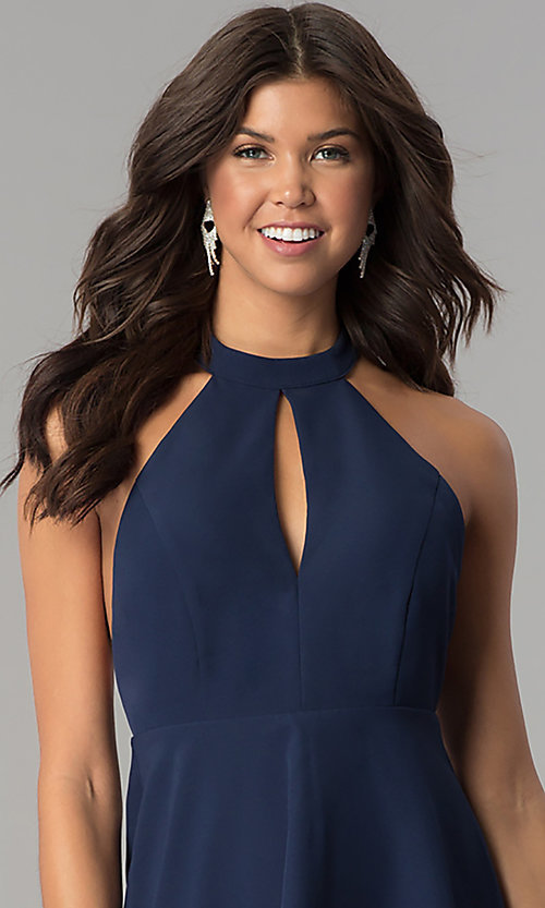 Image of short navy blue empire-waist high-neck party dress. Style: MT-8837 Detail Image 1