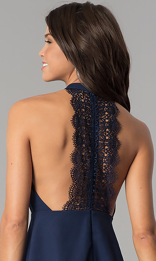 Image of short navy blue empire-waist high-neck party dress. Style: MT-8837 Detail Image 2