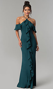 Image of long teal green cold-shoulder chiffon prom dress. Style: MT-8926 Front Image