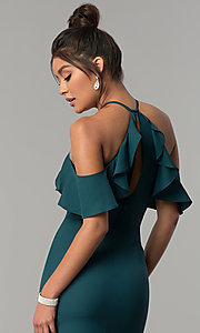 Image of long teal green cold-shoulder chiffon prom dress. Style: MT-8926 Detail Image 2