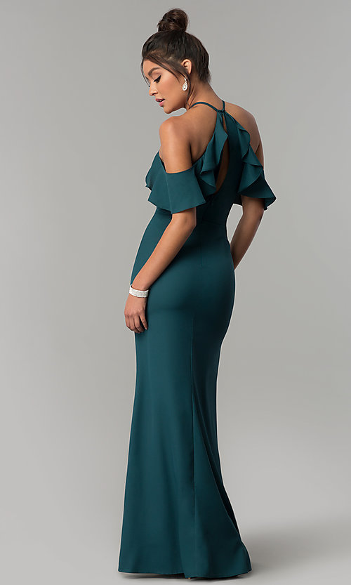 Image of long teal green cold-shoulder chiffon prom dress. Style: MT-8926 Back Image