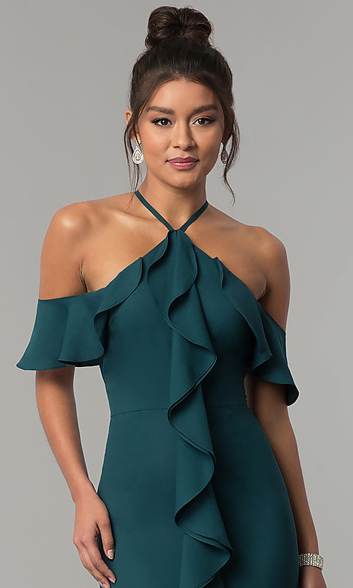 Image of long teal green cold-shoulder chiffon prom dress. Style: MT-8926 Detail Image 1