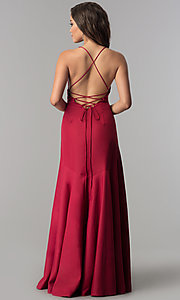 Image of drop-waist long open-back prom dress with ruffles. Style: MT-8623 Back Image