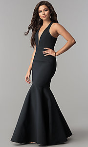 Image of textured-jacquard long black mermaid prom dress.  Style: MT-8890 Front Image