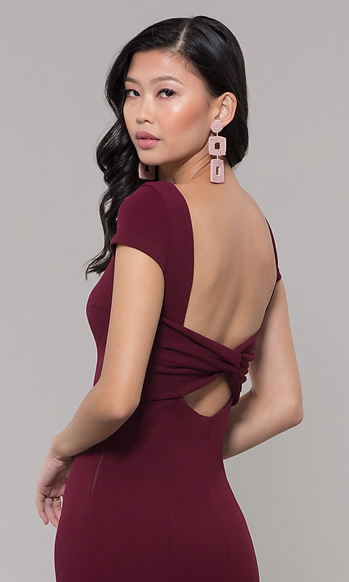 Image of long formal open-back prom dress with short sleeves. Style: MT-8880 Detail Image 6