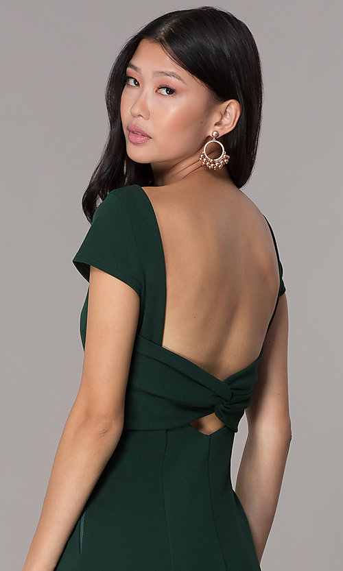 Image of long formal open-back prom dress with short sleeves. Style: MT-8880 Detail Image 2