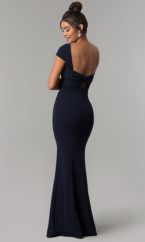 Image of long formal open-back prom dress with short sleeves. Style: MT-8880 Detail Image 4