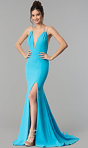 Image of open-back deep-v-neck long prom dress with train. Style: TI-GL-1712P2498 Detail Image 1