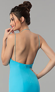 Image of open-back deep-v-neck long prom dress with train. Style: TI-GL-1712P2498 Detail Image 3