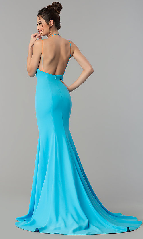 Image of open-back deep-v-neck long prom dress with train. Style: TI-GL-1712P2498 Back Image